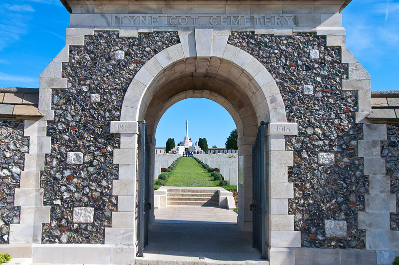 Tyne Cot is the other end of the line for Passchendaele.<br /> <br /> It is on the ground that was the German front.
