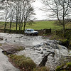 Land Rover parking in the Valley Dee near Cowgill.