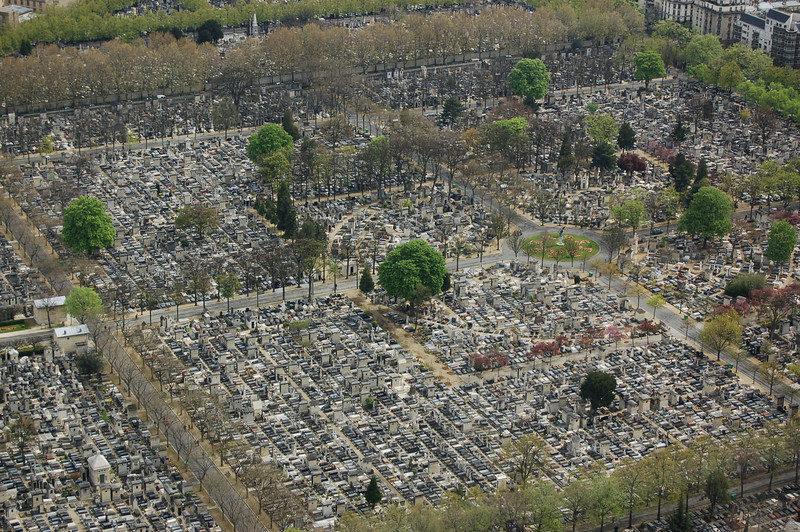 A Paris cemetery - view form above.
