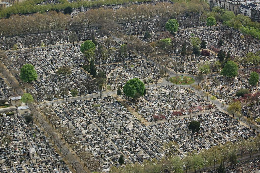 A Paris cemetery - view form above.