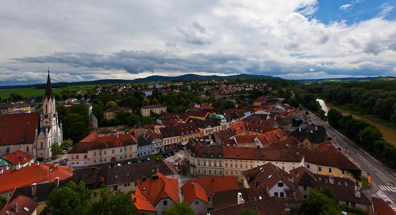 A view of Melk, Austria, taken from Melk Abbey.