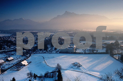 Salzburg from ruins winter