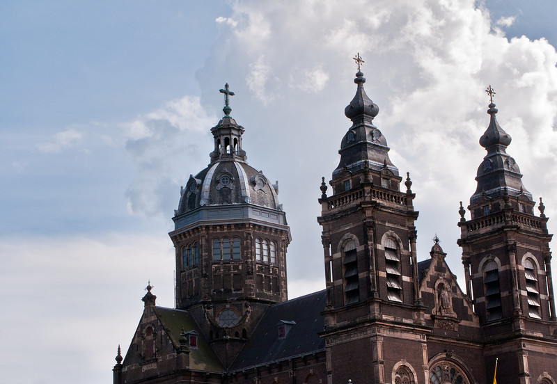 Top of Cathedral in Amsterdam, Netherlands.