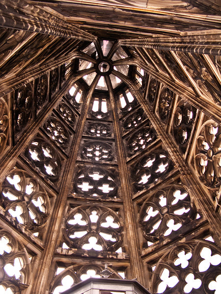 Looking Up Through Cologne Cathedral's Steeple Top.