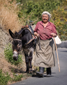 Woman and Donkey Walking Roadside in Cypress