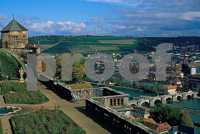 The Wurzburg Castle and Main River in Wurzburg, Germany.