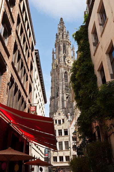 Cathedral Clock Tower, Antwerp, Belgium.