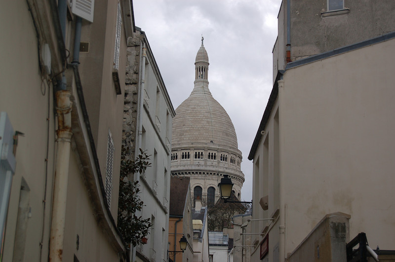 Walking up the hill at Montmarte towards the Sacre Coeur