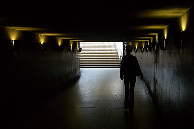 An underground pedestrian tunnel at the Arc de Triomphe.