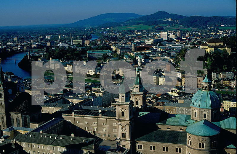 Salzburg, Austria as seen from the old ruins on the hill.