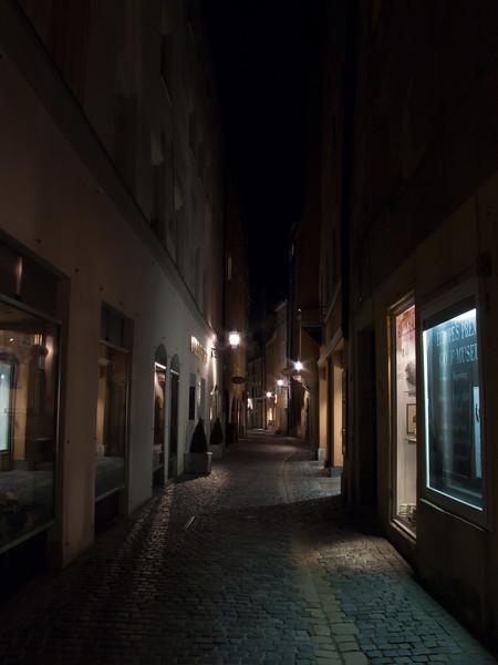 Night Street Scene in Regensburg, Germany.