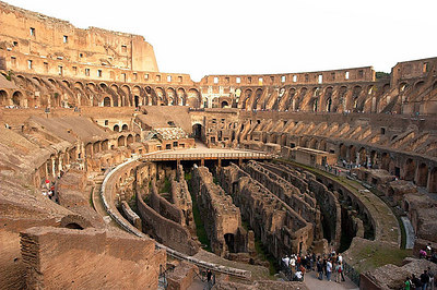 A view of the inside of the Colosseum.