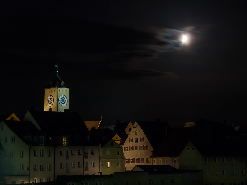 Regensburg Night Clock Tower, Germany.