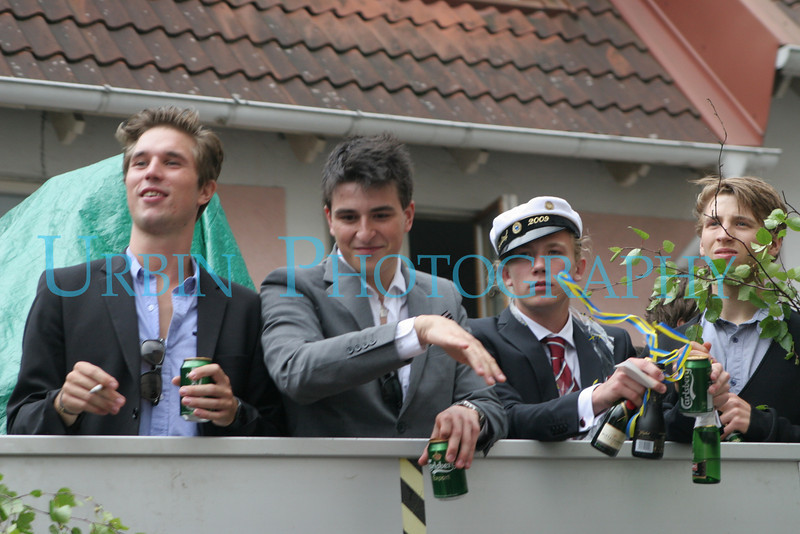 High School Graduation in Sweden involves drinking, smoking, and loud music.