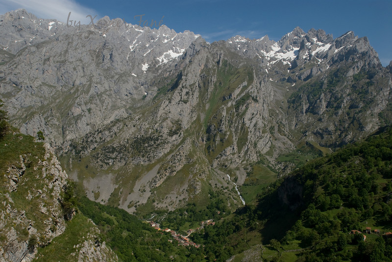 The tiny hamlet of Cain, and the vertiginous mountains of Picos de Europa, Spain.