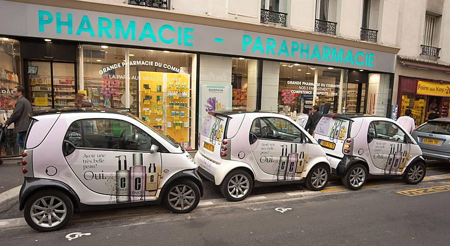 Smart Cars advertising cosmetics.