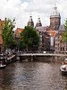 Amsterdam Canal with Cathrdral, Netherlands.