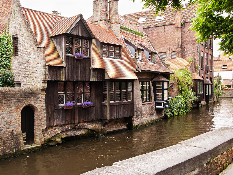 Bruges Canal with Flower Boxes, Belgium.