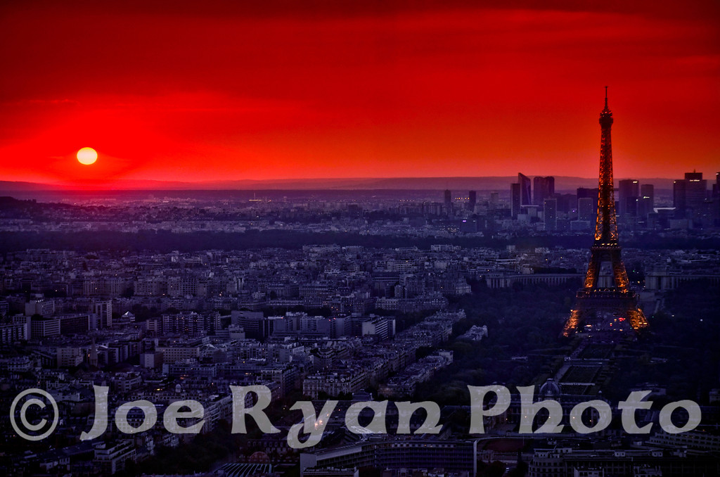 Sunset over Paris, France<br /> The Eiffel Tower