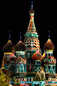 St. Basil's Catheral Outline - Red Square, Moscow, Russia