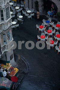 An outdoor cafe in Innsbruck, Austria as view2ed from the City Tower.