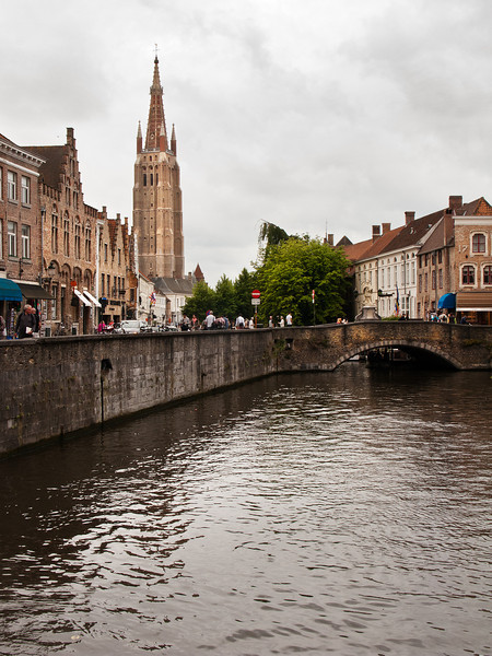 Bruges Canal with Cathedral, Belgium.