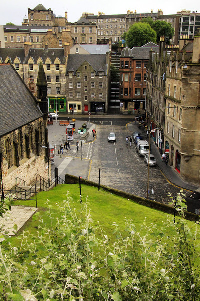 Castle View of Grassmarket Street - Scotland