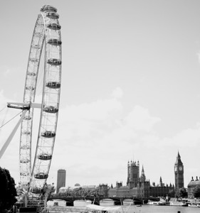 London Eye, Parliament, Big Ben clock tower.