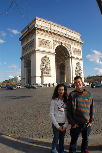 Late afternoon of our 1st day (the only sunshine we saw in Paris).  Arc de Triomphe.