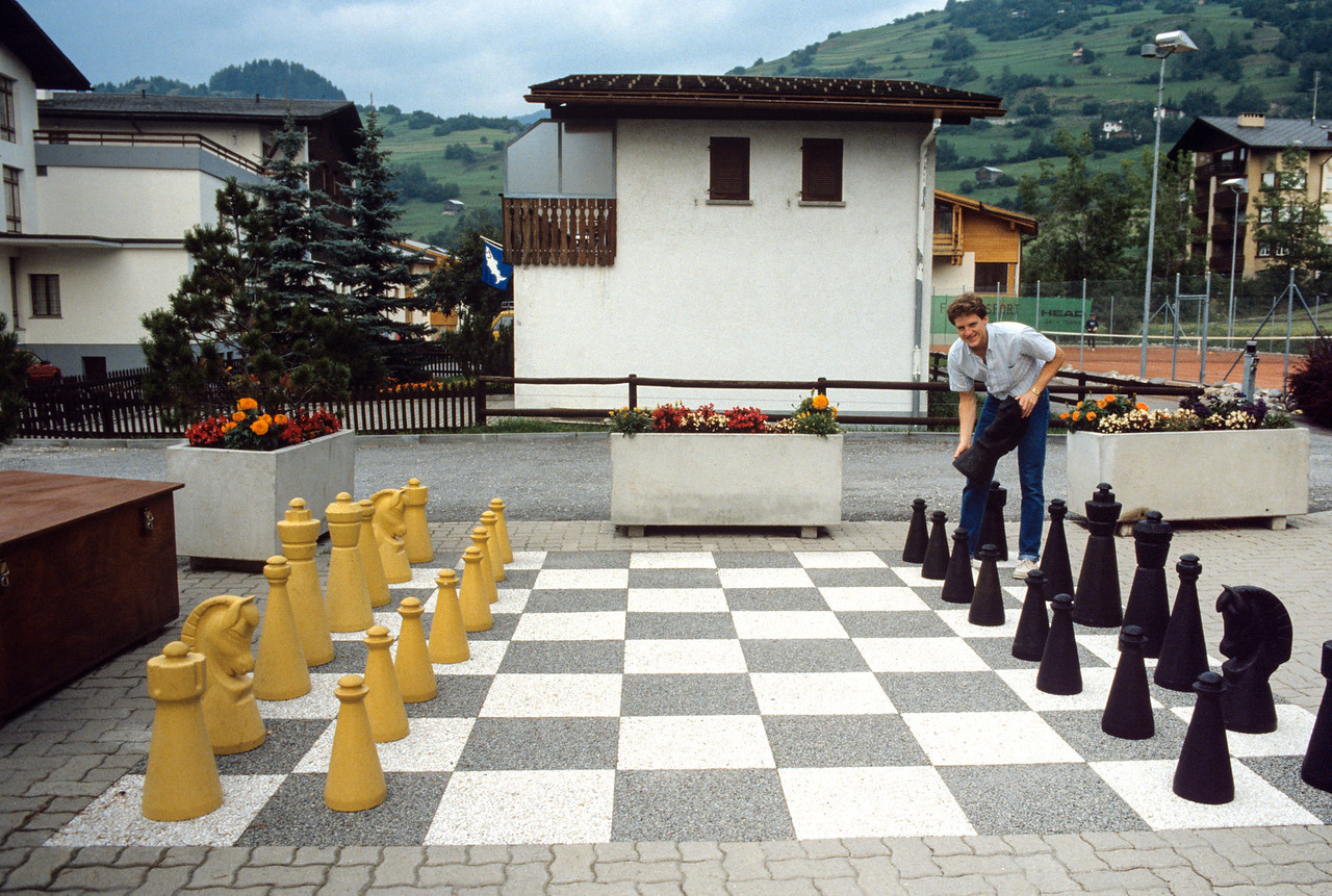 Bryan Calkins playing chess in Switzerland - August 1985