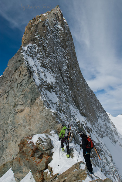 Knife edge ridge in the La Mongie massif, French Alps.