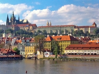 """""""Prague #3""""  Prague Castle complex with St. Vitus Cathedral on top of hill."""