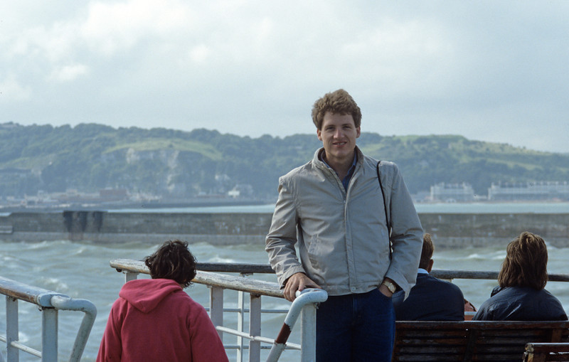 Bryan Calkins on ferry crossing the English Channel - August 1985