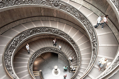 The steps to exit the Vatican Museum.