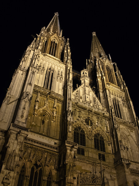 Regensburg Night Steeples, Germany.