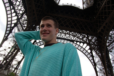 We landed at 6am but the hotel room wasn't ready; so we hung around the Eiffel Tower 'till it opened at 9:30 to go up.