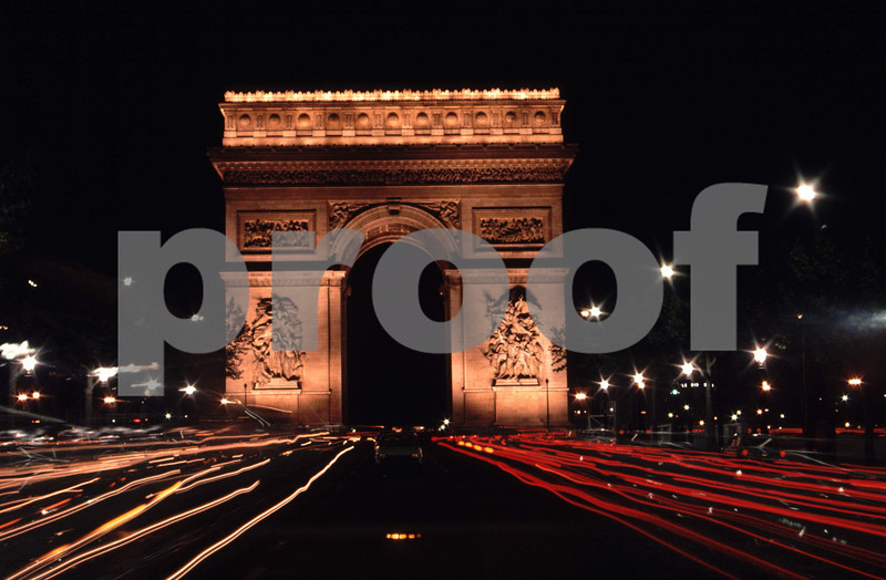 Paris, France at night and the Arch'd Triumph