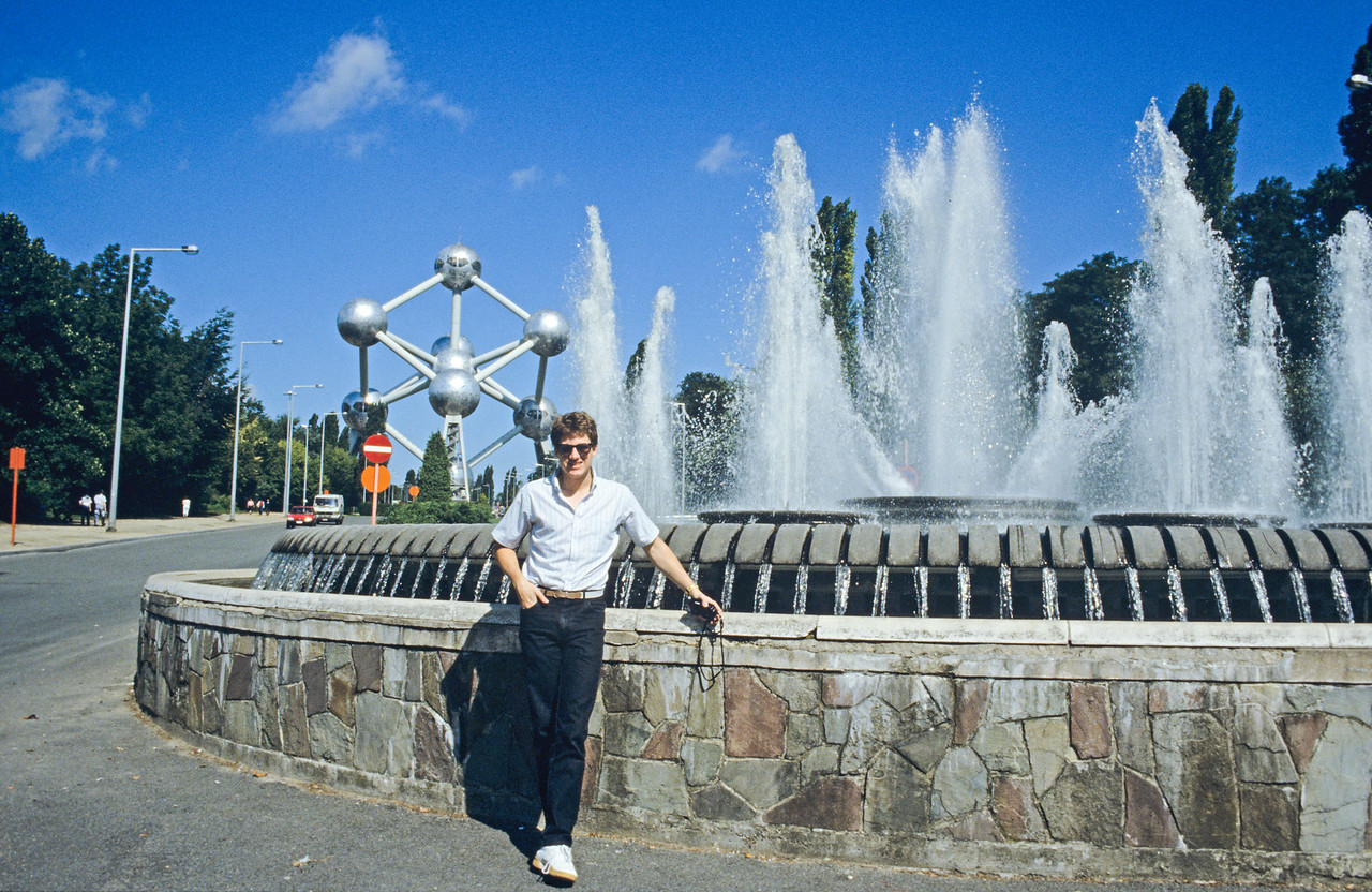 Bryan Calkins near fountain in Belgium - August 1985