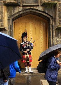 Piper in the Rain - Scotland