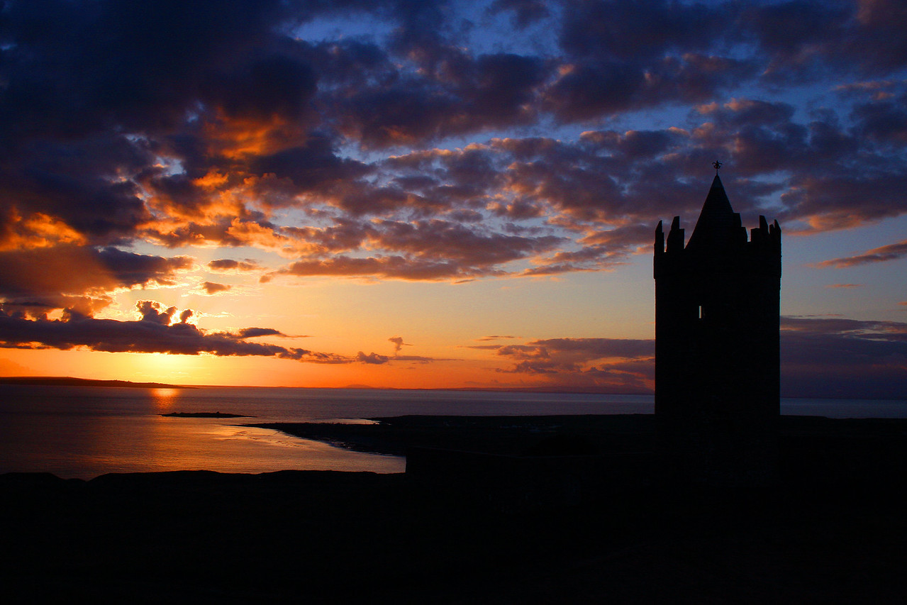 Doolin, Ireland Watchtower at Sunset