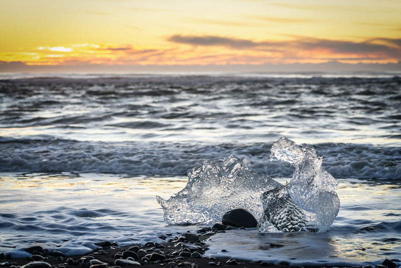 Icy Sunrise And Surf