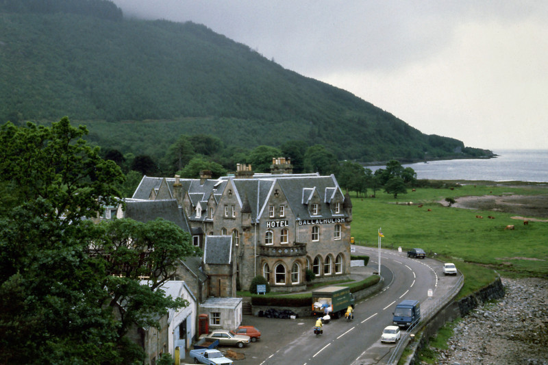 Hotel Ballachulish<br /> <br /> Day 79 (cont.) -  We stood on a high bridge over Loch Leven and watched sadly until Tim and Lisa's yellow rain suits disappeared into the gray drizzle, then turned north toward the Isle of Skye.