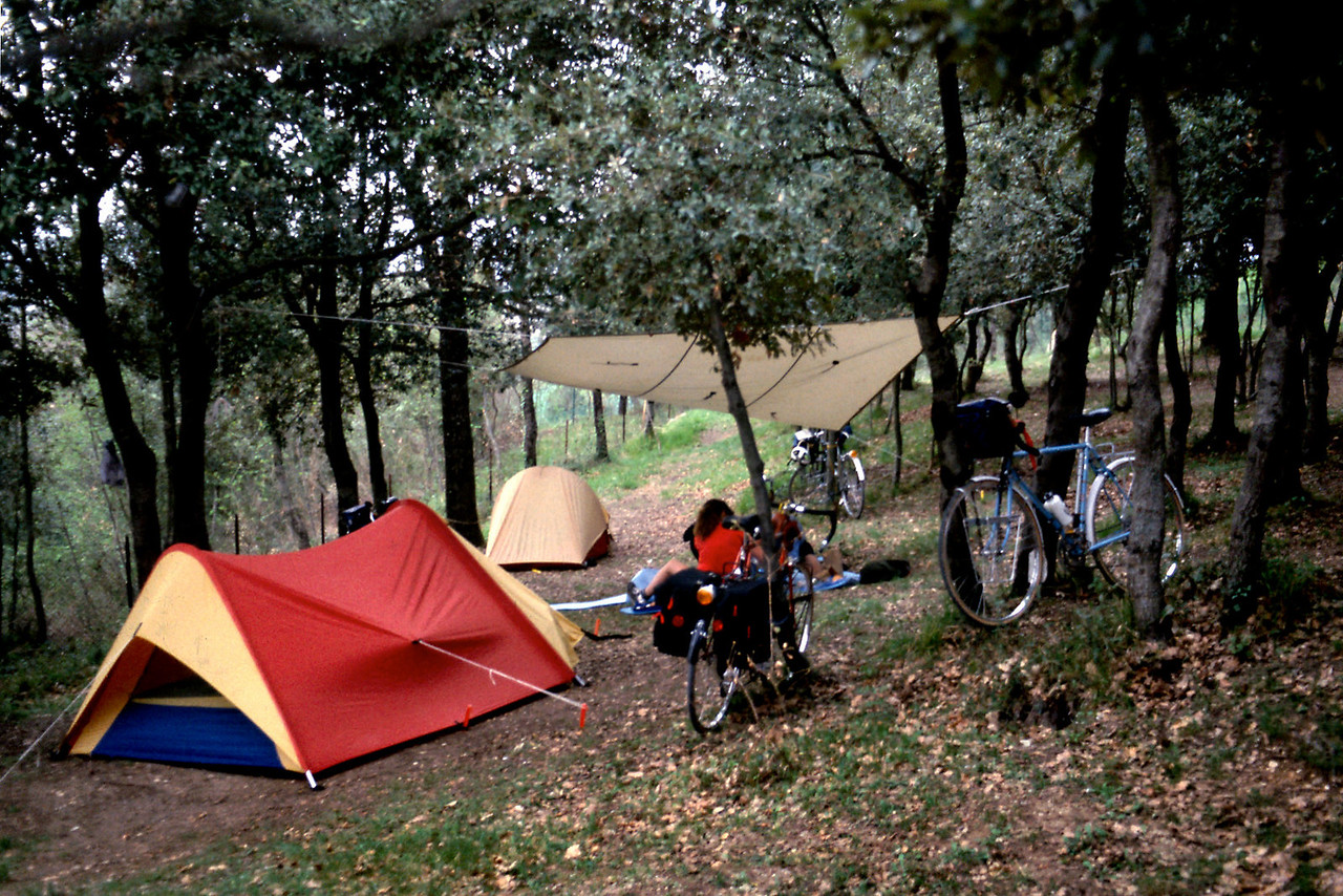 """Camp, Day 9<br /> <br /> Bicycle tourist's campsite. This was one of our very few """"wild"""" camps on this trip - that is, not a """"pay"""" campsite."""