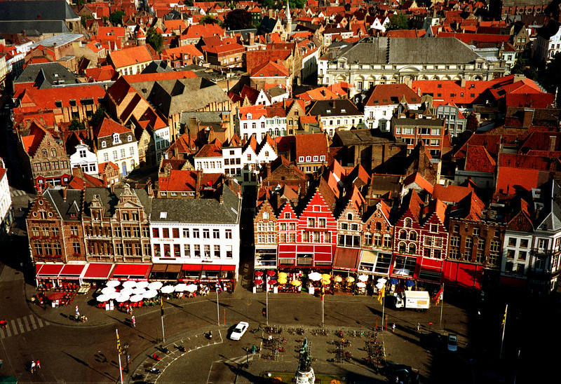 "Bruges, Belgium, 1996. This was taken from the same tower that a man fell to his fictional death in the movie, ""In Bruges."""