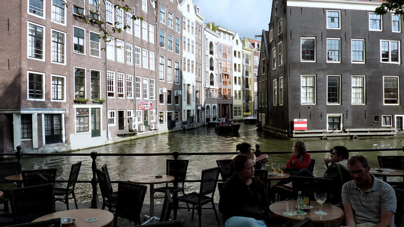 View down a canal in the old part of the city
