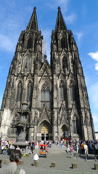 Construction of Cologne Cathedral began in 1248 and took, with interruptions, until 1880 to complete – a period of over 600 years. It is 144.5 metres long, 86.5 m wide and its two towers are 157 metres tall. The cathedral is one of the world's largest churches and the largest Gothic church in Northern Europe.