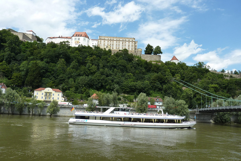 Passau is dominated by the Veste Oberhaus and the former fortress of the Bishop, on the mountain crest between the Danube and the Ilz rivers. John climbed the 878 steps to the top of the fortress.