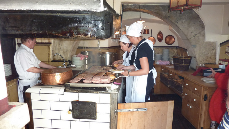 The kitchen staff at the Sausage Kitchen in Regensburg