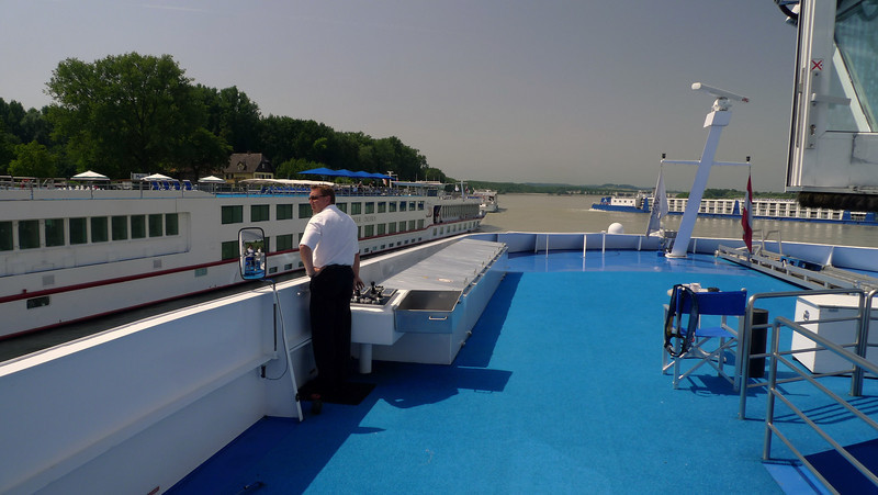 The captain maneuvers our ship to dock next to another river cruiser. At some ports there were as many as eight cruise ships docked at the same time.