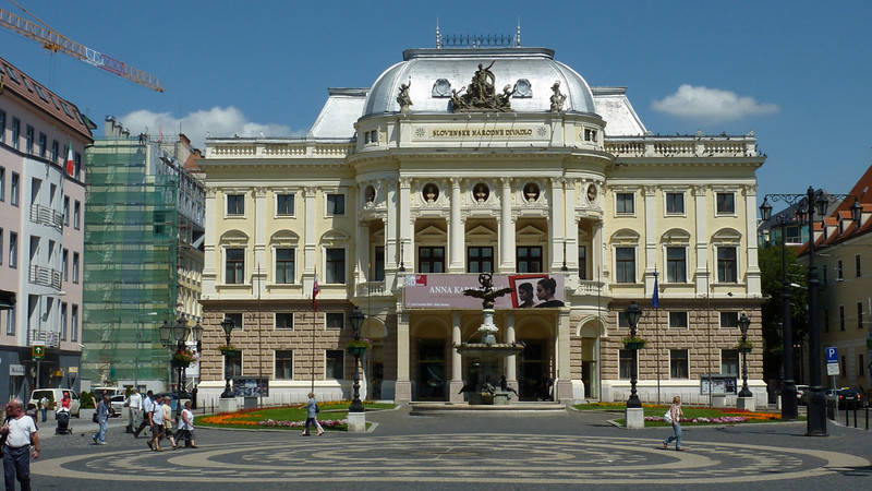 The Neo-Renaissance Slovak National Theatre, standing at the end of the long today's Hviezdoslav Square, was built in 1885–1886 during the time of Austria-Hungary, The Theatre, standing at the end of the long today's Hviezdoslav Square, was built in 1885–1886 during the time of Austria-Hungary,